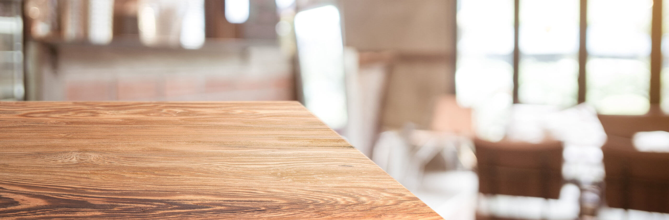 wood table top product display background with blur people in gr
